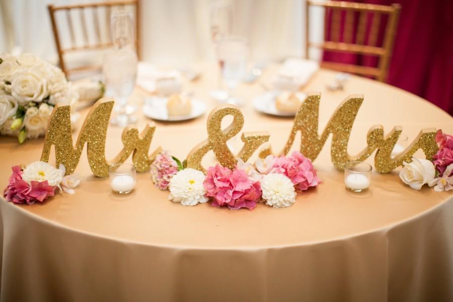 Gold Glitter Mr And Mrs Signs Wedding Sweetheart Table Decor Mr ...
