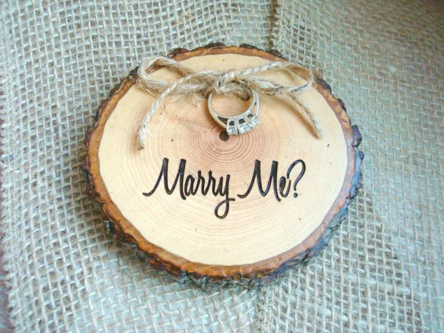 engagement ring holder marry me marry me rustic wood