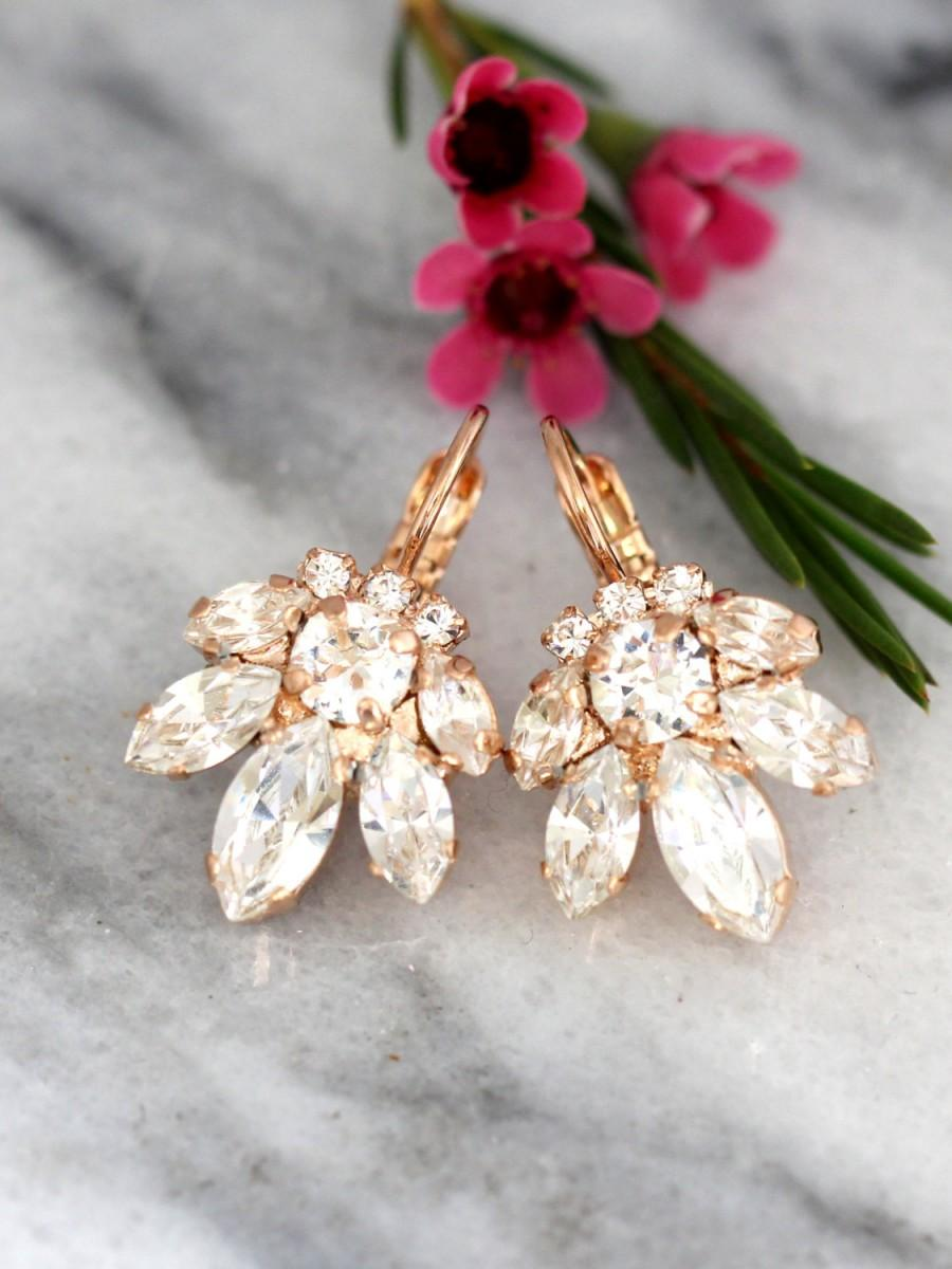 Mariage - Bridal Cluster Earrings, Drop Earrings, Swarovski Earrings, Bridesmaids Earrings,Gift for Her,Rose Gold Earrings, Bridal Crystal Earrings