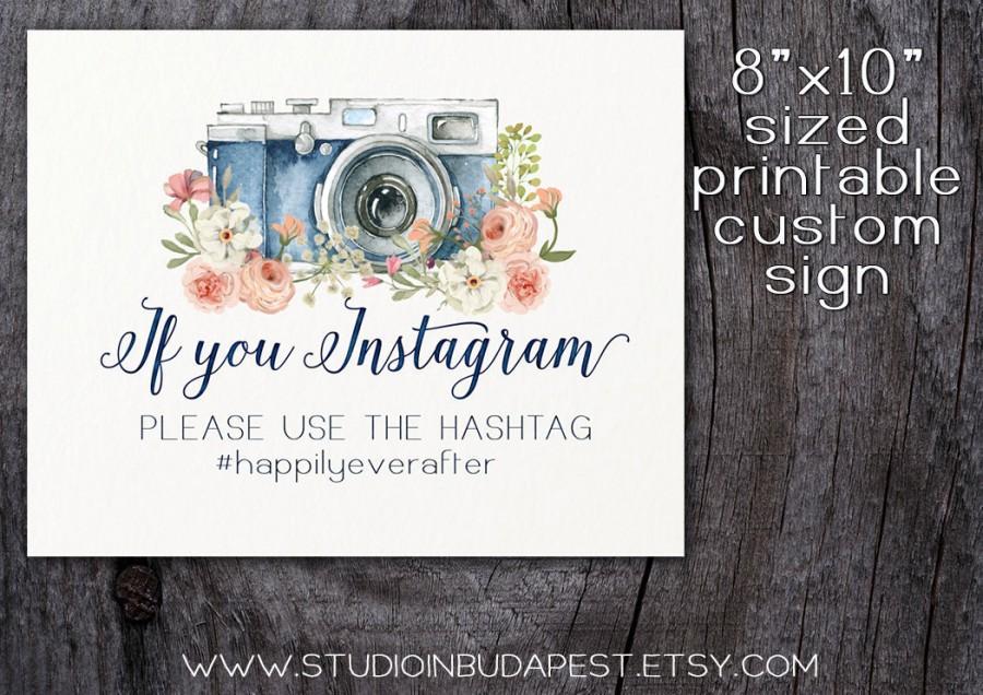 Mariage - printable wedding instagram sign, floral custom sign, rustic instagram sign, floral wedding printable, INSTANT DOWNLOAD