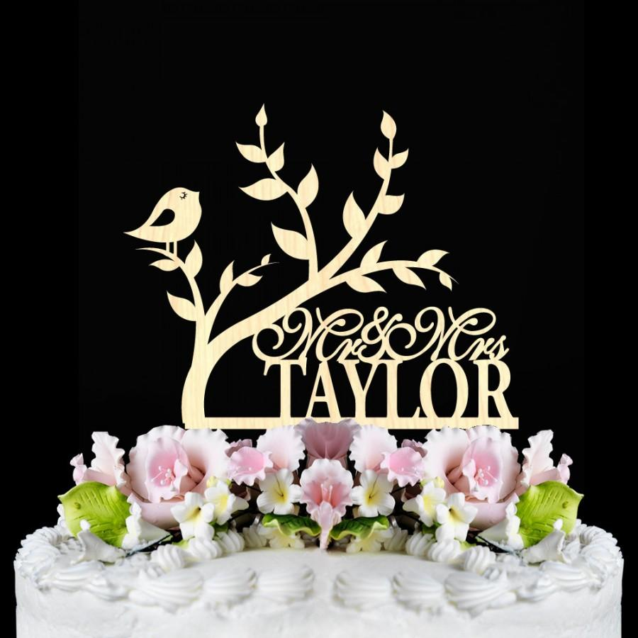 Rustic Wedding Cake Topper Tree With Bird Personalized Wooden Toppers Custom Name Mr Mrs