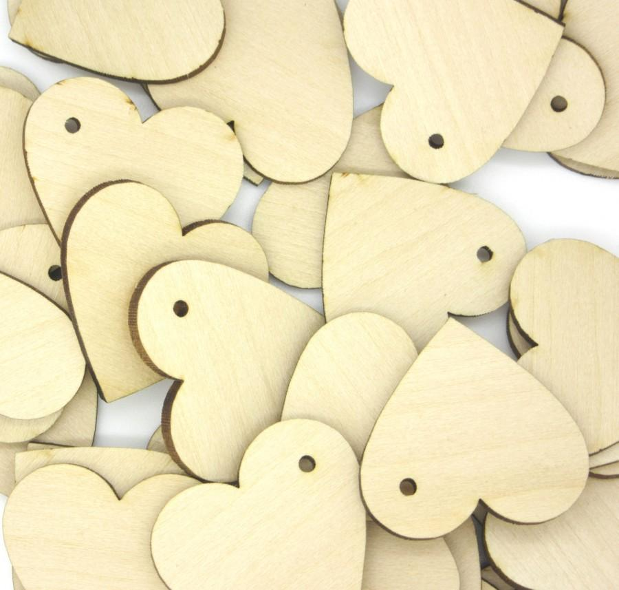 Hochzeit - HEARTS : 100 Laser cut wooden hearts 2 x 2 Inches - Made to order