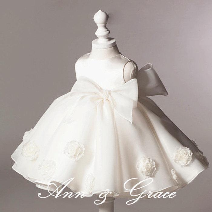 ee2c48dd34b8 Off White High End Puff Flower Girl Dress, Christening Dress, First  Communion Dress, Baptism Dress