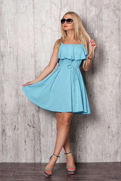 Light Blue Dress Silk Summer Short Bridesmaid Flared Sundress Beach Party Mini