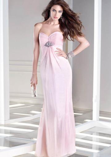 Свадьба - Sweetheart Zipper Chiffon Beading Red Pink Ruched Floor Length