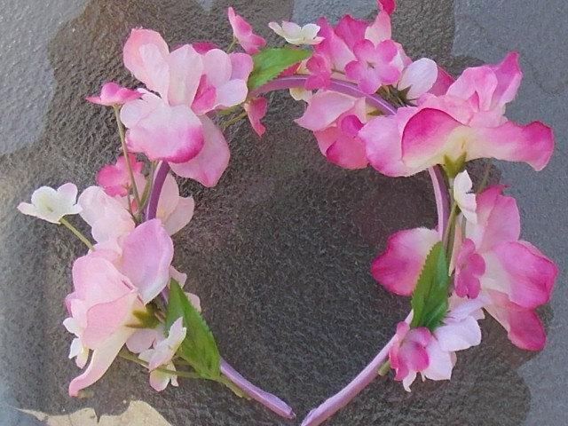 Свадьба - Pink Spring Blossom Headband Crown with Delphinium Flowers, Green Leaves and Small Pink Flowers for Fairies, Flowergirls, or Bridesmaids A08