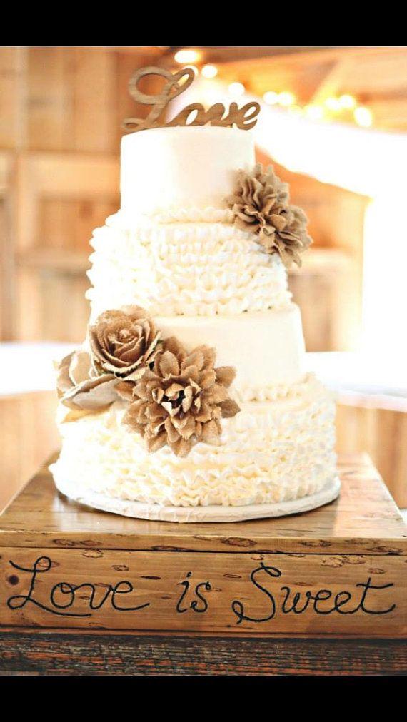 Wood Love Rustic Cake Topper Wooden Cursive Script Rustic Chic