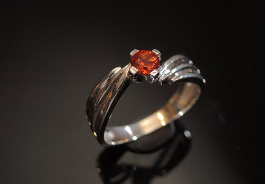 زفاف - Fanta Orange Spessartite Garnet Ring Silver Garnet Ring Mandarin Garnet Orange Garnet Ring Engagement Ring January Birthstone