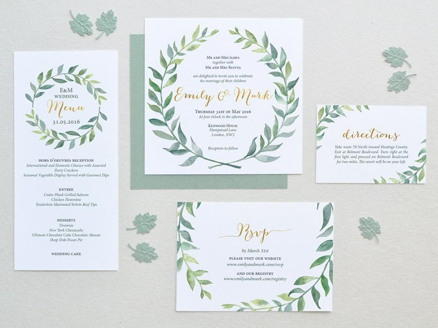 Watercolor Wedding Invitation Leaves Wreath Set Square - Wedding invitation templates: wedding invitation suite templates