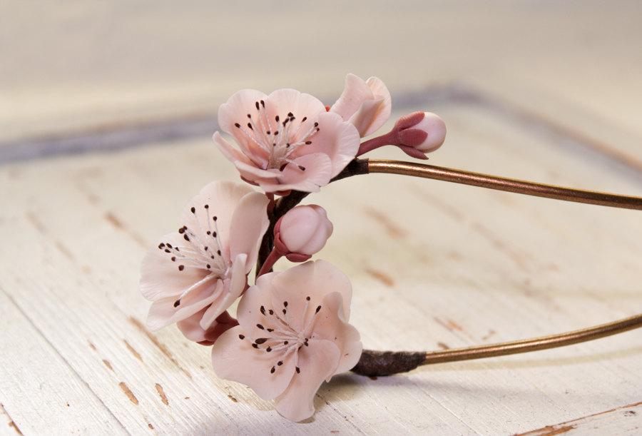 زفاف - cherry blossom stick,sakura stick, handmade cherry blossom, polymer clay