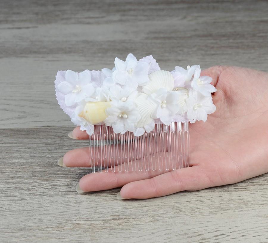 زفاف - Beach Wedding Comb, Seashell Flowers Leaf Hair Comb, wedding accessory, bridal headpiece seashell comb destination headpiece nautical boho