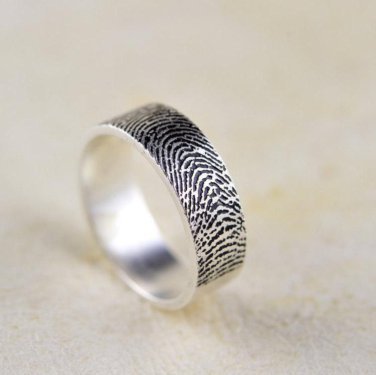Свадьба - Back To School  Buy one get one for 50% off :Actual Fingerprint Ring, Wedding Band,990  Sterling Silver Engraving 4mm-6mm