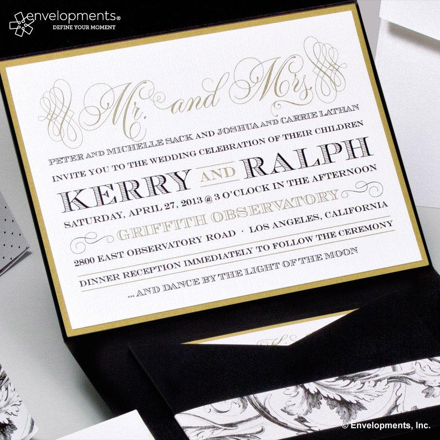 Hochzeit - Elegant Gold Wedding Invitations, Classic Black and Gold Wedding Invitation, Classic Wedding Invitation, Vintage Wedding Invitation