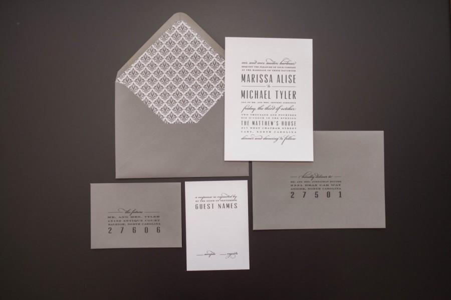 Hochzeit - Grey Wedding Invitation, Modern Wedding Invitation, Elegant Wedding Invitation, Classic Wedding Invitation, Modern Wedding Invitation