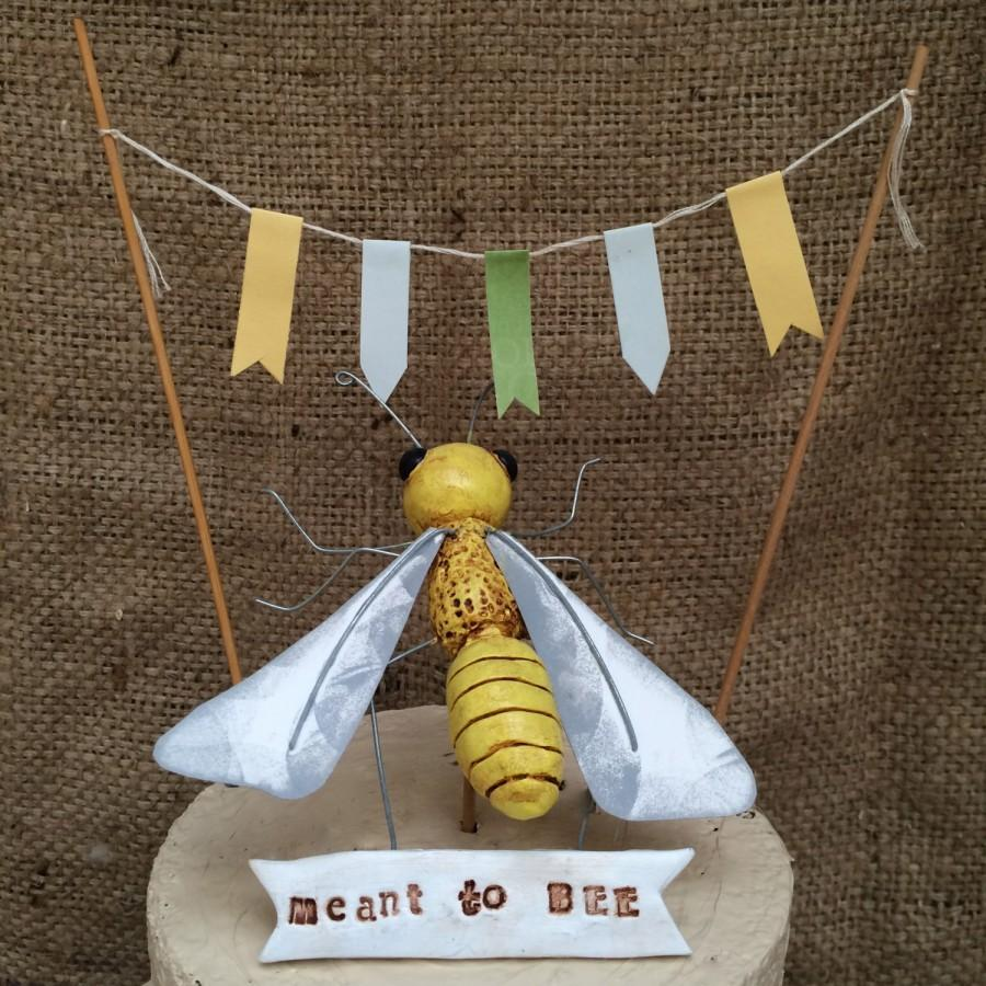 Honey Bee Wedding Cake Topper Set For Your Rustic Ready To Ship