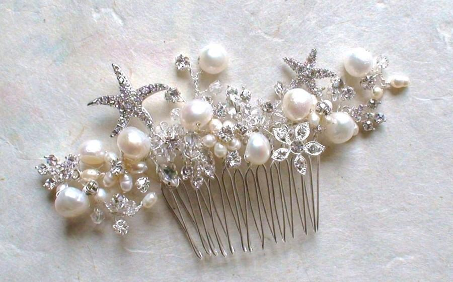 زفاف - Starfish Bridal Hair Comb. Starfish hair Accessories. Bridal Decorative Combs. Beach Wedding. Crystal hair comb. Wedding Hair accessories.