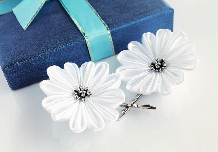 زفاف - White Bridal Hair Pins, Kanzashi Flower Pins, Small Hair Clips, Bridesmaid Flowers, Bridal Hair Clips, Wedding Hair Pins, Set of Hair Pins