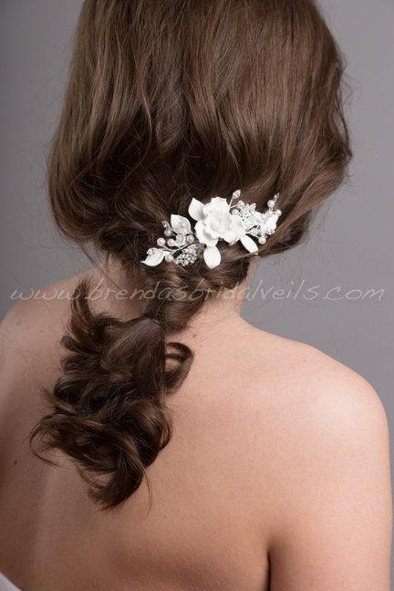 Hochzeit - Wedding Hair Comb, Bridal Pearl Hair Comb, Wedding Flower Headpiece - Bristol