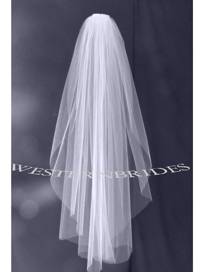 Hochzeit - Elbow Fingertip Cathedral choice wedding bridal veil on silver comb ready to wear. Cut plain raw edge  White , off white or ivory