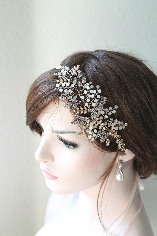 Gold Vine Opal Pearl Bridal Headpiece. Ethereal Delicate Swarovski Crystal  Leaf Boho Wedding Headband. ELSA d86f0b6d6ae