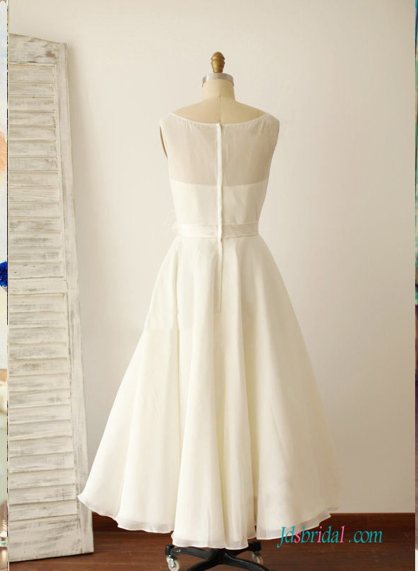 زفاف - H1521 Simple vintage tea length chiffon wedding dress