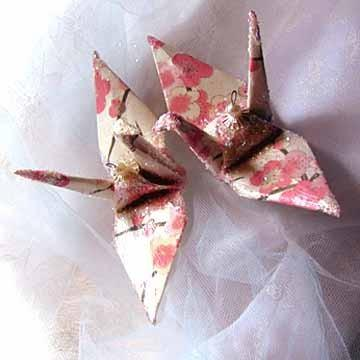 Sakura Peace Crane Bird Wedding Cake Topper Party Favor Origami Christmas Ornament Japanese Paper Anniversary Decoration Ivory Gold Pink