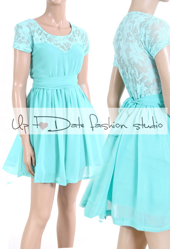 Wedding - Mint/ Lace/Bridesmaid / Wedding Party / Cocktail / Evening / Prom / Graduation dress