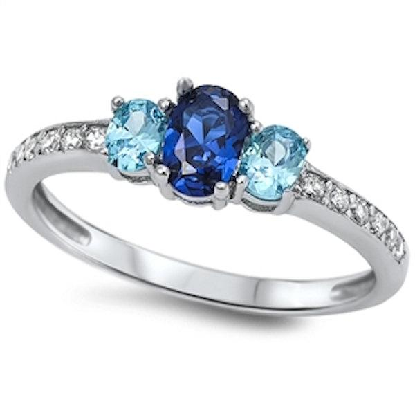 Свадьба - 1.80 Carat Oval Cut Deep Blue Sapphire Swiss Blue Topaz Round Russian Diamond CZ 925 Sterling Silver Three Stone Dazzling Ring Lovely Gift
