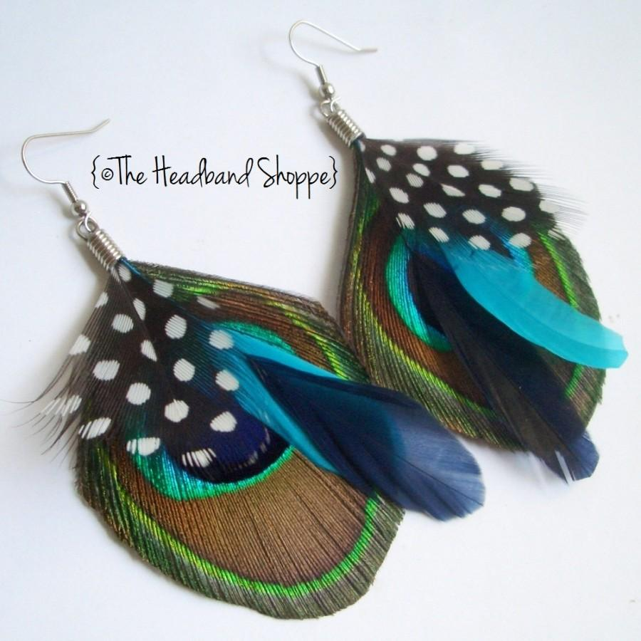 Wedding - Peacock Earrings with Guinea Turquoise and Navy Accents - ATLANTIS Peacock Feather Earrings