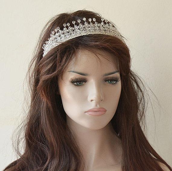 زفاف - Crystal Bridal Tiara, Wedding Tiara, Wedding Headband, Wedding Hair Jewelry, Bridal Head Piece, Bridal Hair Accessory, Wreaths & Tiaras