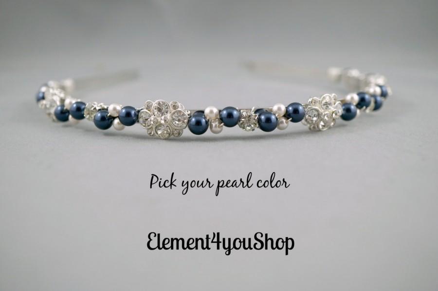 Mariage - Bridal headband hair band, Pearls rhinestone hair piece, light grey purple navy blue pearls, Wedding tiara Silver headband Head piece Formal