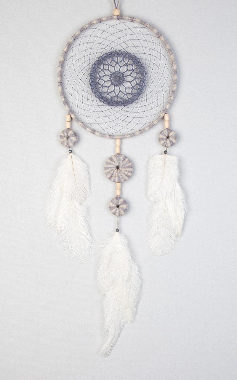 Beige Gray Blue Dream Catcher Crochet Doily Dreamcatcher ...