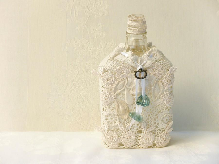 Hochzeit - Crochet Lace Bottle, Eco Friendly Home Decor, Upcycled  Bottle, Antique  burlap crochet Bottle, Rustic Table  Shabby chic Decor.