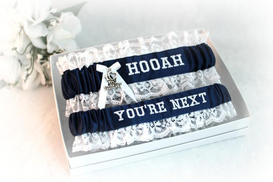 Mariage - Army Wedding Garter Set with  HOOAH - Military Bridal Garters - Something Blue - Personalized Wedding Garters.
