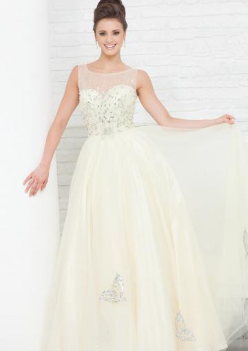 Hochzeit - Zipper Crystals Scoop Champagne Tulle Floor Length Ball Gown