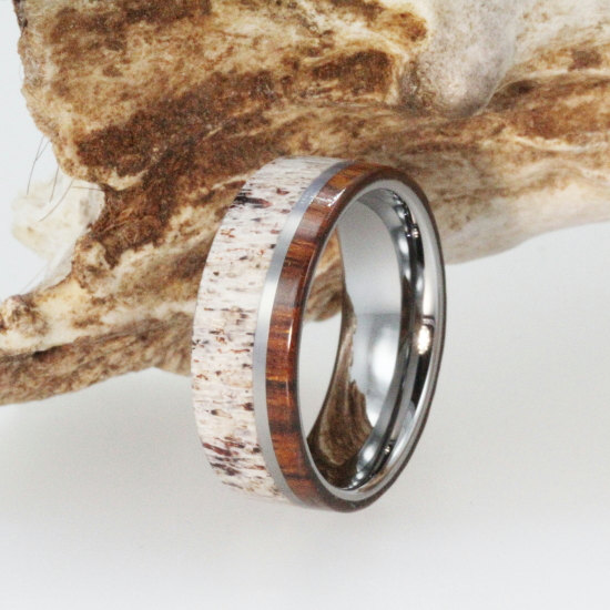Personalized Mens Wedding Band Deer Antler Ring Inlaid With Ironwood Wood