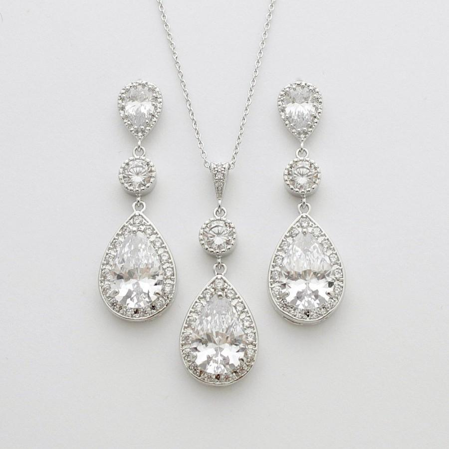 زفاف - Bridal Jewelry Set Silver Clear Cubic Zirconia Post Wedding Earring and Necklace Wedding Jewelry Set