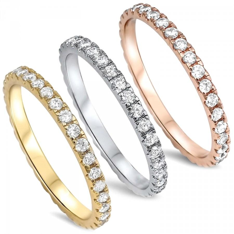 Hochzeit - Authentic Sterling Silver Rose Yellow Gold AAA Cz Eternity Anniversary Wedding Ring Promise Band Stackable