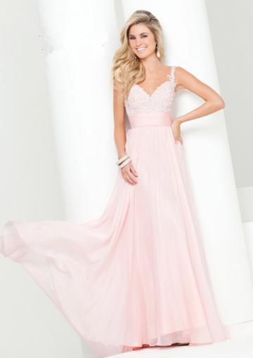 Wedding - Zipper Straps V-back Pink Appliques Chiffon Floor Length