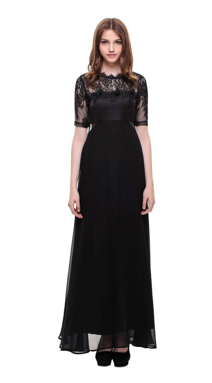 c6ac69ac52a5 Womans Black Bridesmaid Dress, Vintage lace Black maxi dress Round Collar  See Through Lace Chiffon Party Dress Long Prom Dresses Black