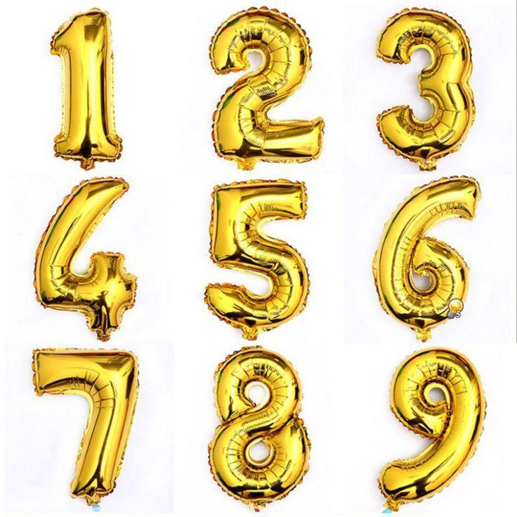 Mariage - 1Pcs 16inch Gold 0-9 Digital Figure Number Aluminum Foil Helium Balloons Wedding Party Decoration