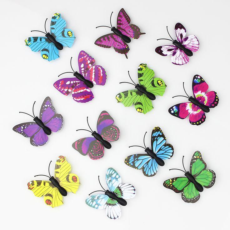 100 Pieces 3D PVC Artificial Butterfly Decor Wedding Decoration ...