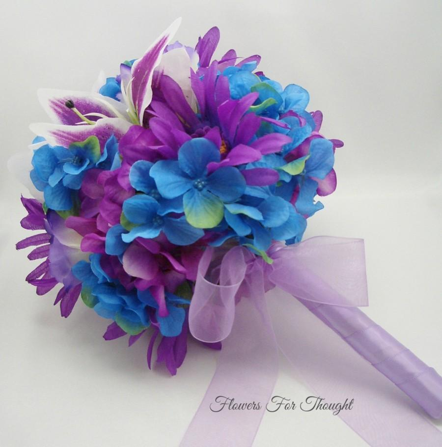 Blue and purple bouquet bride or bridesmaid flowers hydrangea blue and purple bouquet bride or bridesmaid flowers hydrangea lily gerber daisy wedding decoration fft design made to order izmirmasajfo