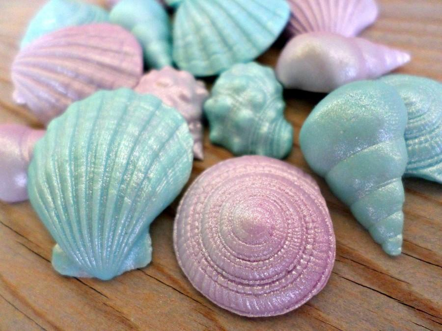 24 Mermaid Edible Fondant Shells Favors Cake Topper Cupcake Under