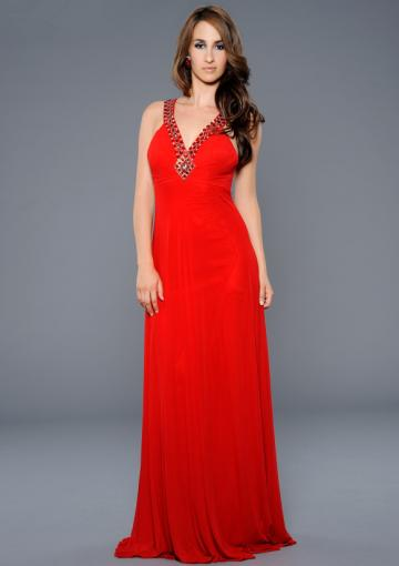 Wedding - Open Back V-neck Crystals Chiffon Ruched Red Sleeveless Court