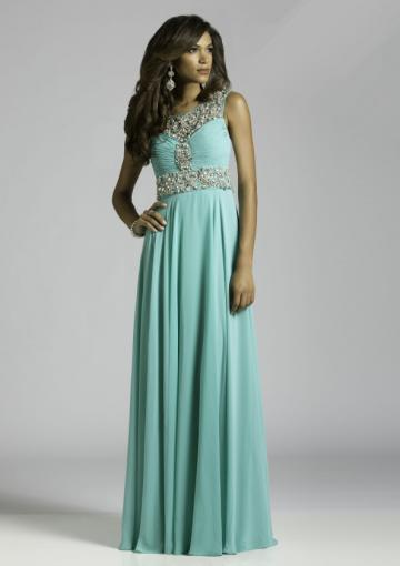 Mariage - Zipper Scoop Open Back Blue Crystals Sleeveless Chiffon Ruched Floor Length