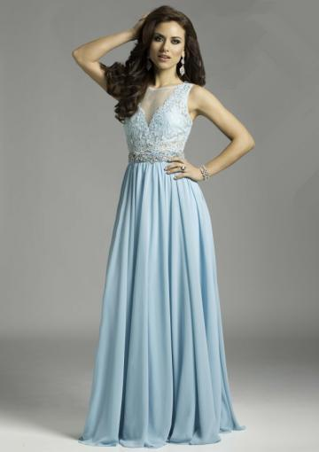 Wedding - Blue Sleeveless Scoop Beading Tulle Chiffon Floor Length
