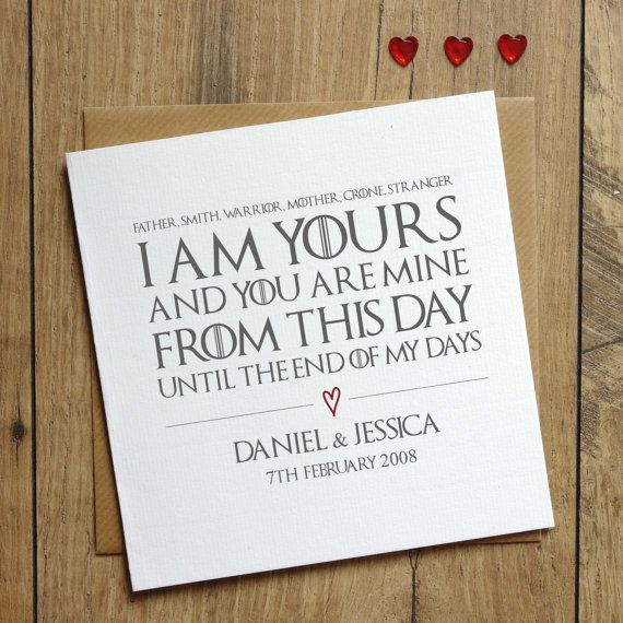 Of Thrones Wedding Vows Card Personalised I Am Yours And You Are Mine Love Anniversary From This Day Custom
