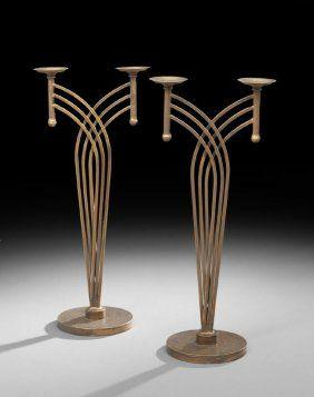 Свадьба - Pair Of Art Deco-Style Double Candle Holders : Lot 833