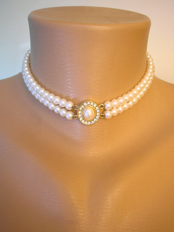 Pearl Choker Great Gatsby Pearl Necklace 2 Strand Pearls Cream